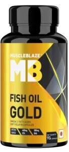 MuscleBlaze Fish Oil Gold 460 mg EPA and 380 mg DHA (90 Capsules), Best Omega 3 Capsule in India