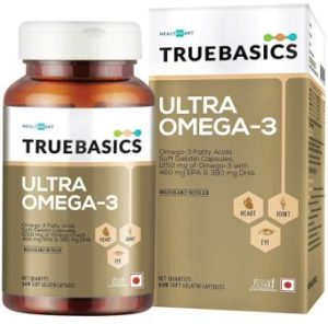 TrueBasics Triple Strength Ultra Omega-3 Fatty Acids With 1250mg Fish oil (EPA 460 mg, DHA 380 mg)