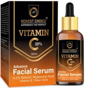 Honest Choice Vitamin c Serum 30 ml with Retinol n Hyaluronic acid For face,Anti Ageing Brightening n Whitening Serum For Men n Women Face