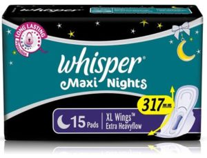 Whisper Maxi Overnight Sanitary Pads - XL Wings