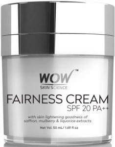 WOW Fairness SPF 20 PA++ No Parabens & Mineral Oil Fairness Cream