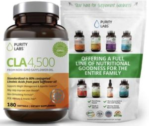 Purity Labs CLA 4,500 Safflower Oil Number One Natural Weight Loss Fat Burner Supplement 180 Softgels