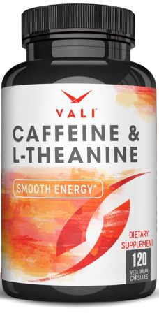 Caffeine 50mg with L-Theanine 100mg Pills for Smooth Energy
