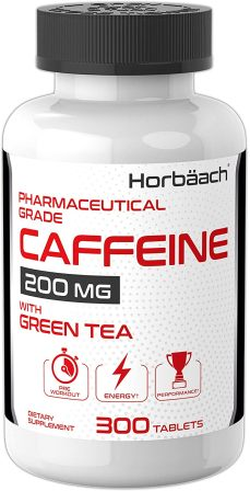 Horbaach Caffeine Pills 200mg with Green Tea