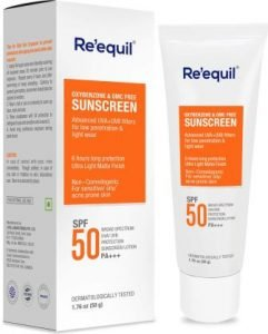 RE' EQUIL Oxybenzone and OMC Free Sunscreen For Oily, Sensitive & Acne Prone Skin, SPF 50 PA+++